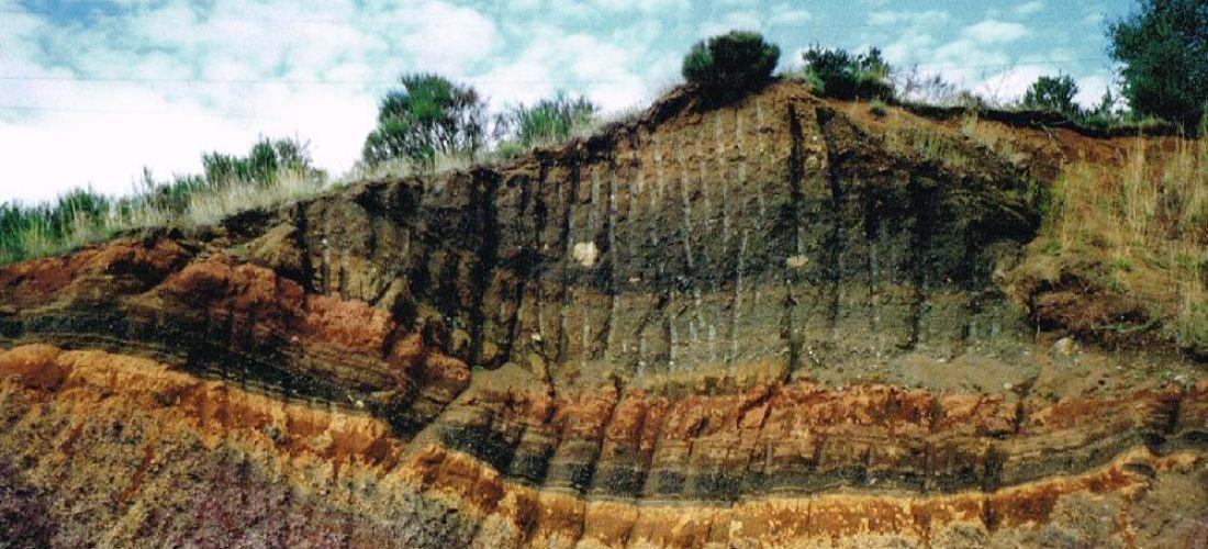 Coupe géologique dans une ancienne exploitation (Haute Loire)